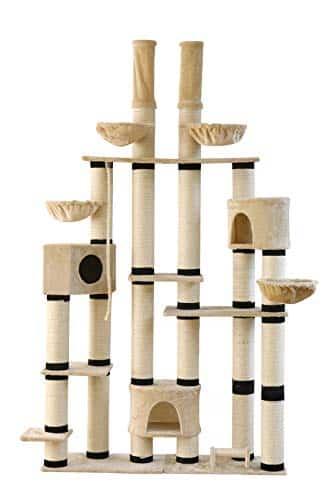 Clamaro'New York' XXL Katzenbaum deckenhoch höhenverstellbar (beige), Katzen Kratzbaum extra groß mit Ø 14 cm Sisal Säulen, 3 Katzenhöhlen und 4 Liegemulden - Maße (B/T/H): 148 x 40 x 240-275 cm